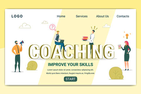 Coaching Courses Landing Page Vector Template