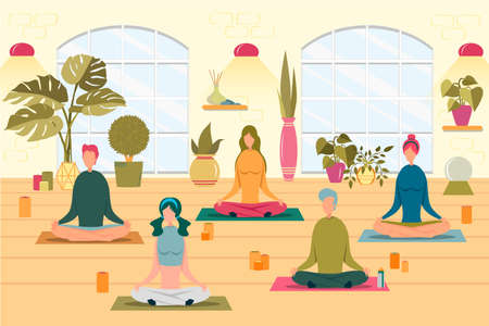 People at Yoga Class Flat Vector Illustration Иллюстрация