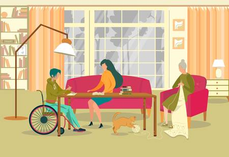 Child with Special Abilities Learning at Home Flat Cartoon Vector Illustration. Mother Sitting at Table Doing Homework with Kid in Wheelchair. Pupil Writing in Notebook. Grandmother Knitting.