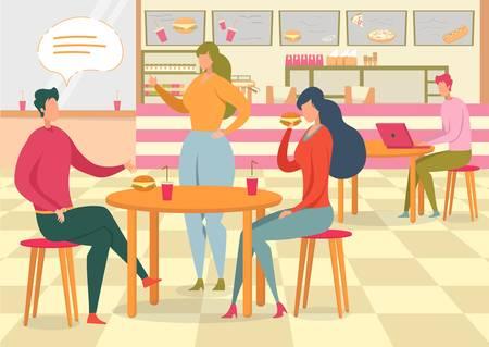 Couple in Fastfood Cafe Flat Vector Illustration Иллюстрация