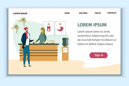 Medical Clinic Presentation Landing Page Design. Administrator at Reception Desk. Hospital Client or Patient Asking for Help. Medicine and Healthcare. Insurance and First Aid. Vector Flat Illustration