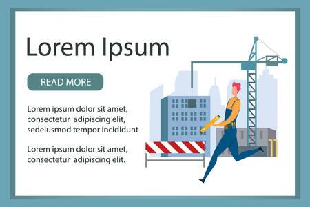 Banner Advertising Professional Building Service Иллюстрация