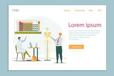 Teacher Showing Skeleton on Chemistry or Biology Class Flat Cartoon Banner Vector Illustration. Student in Robe Raising Hand to Ask Question. Periodic Table on Background Landing Page.