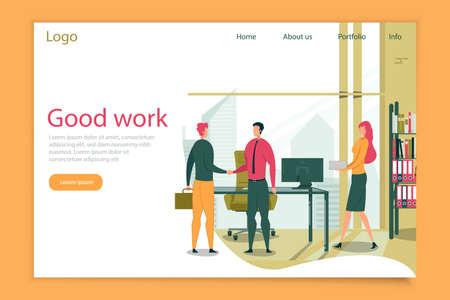 Good Work Header and Business People Shaking Hands Иллюстрация