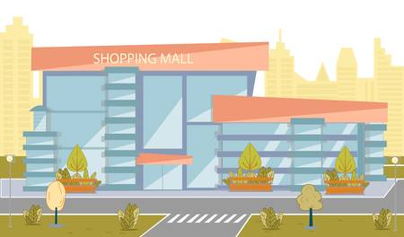 Modern Shopping Mall Building with Glass Exterior