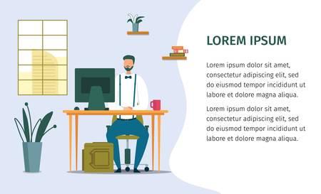 Professional Office Worker at Desk Design Poster