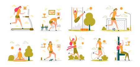 Sportive Active Woman Performing Sport Workouts