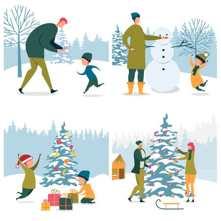 Set Family Winter Activities on Snowy Outdoors. Dad Playing with Son. Man and Boy Making Snowman. Two Boys in Santa Hat Unpack Gifts. Couple, Guy and Girl Decorate with Balls Christmas Tree Vectores