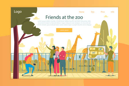 Zoo Visitors Flat Vector Landing Page Template
