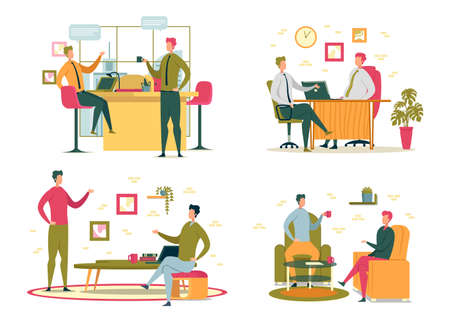 Office Life Colleagues Rest and Break in Workplace Иллюстрация