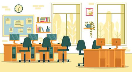 Computer Laboratory Class in Local High School Иллюстрация
