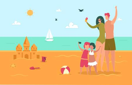 Happy Family on Summertime Vacation. Summer Time. Иллюстрация