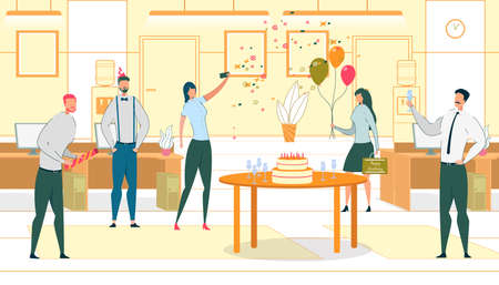 Company Employee Birthday Flat Vector Illustration