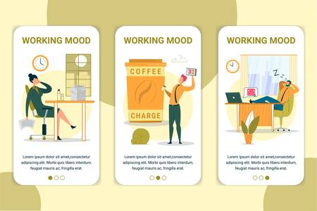 Working Mood Vector Onboarding App Screen Template. Corporate Attitude Mobile Website, Application Walkthrough with Flat Characters. Exhausted, Energetic and Sleeping Workers App Pages Concept