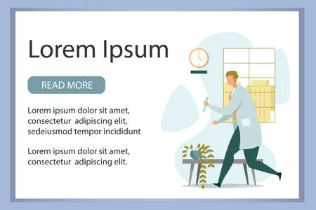 Advertising Banner with Researcher Wearing White Coat Rushing with Discovered Important Liquid Compound in Test Tube. Chemical Laboratory Interior. Vector Illustration with Editable Text