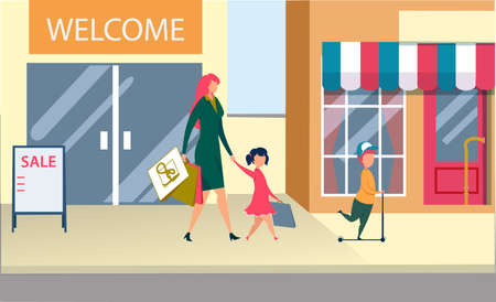 Happy Family Shopping Spare Time. Mother and Little Kids Holding Paper Bags after Visiting Supermarket for Purchases. Children with Mom Leaving Shop Market on Weekend. Cartoon Flat Vector Illustration Ilustração