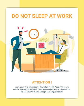 Dont Sleep at Work Flat Poster Vector Template. Angry Chief and Irresponsible Office Worker Cartoon Characters. Executive Manager Screaming at Snoozing Employee Illustration with Text Space Illustration