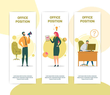 Office Position Vector Web Banners Templates Set 일러스트