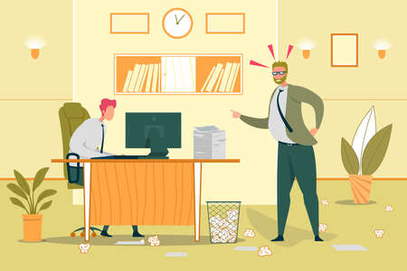 Stressful Office Work Flat Vector Illustration Illustration