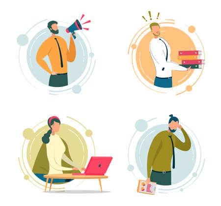 Business Company Staff Vector Illustrations Set