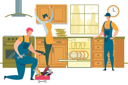 Happy Woman Rejoice for Plumbers Repair Dishwasher