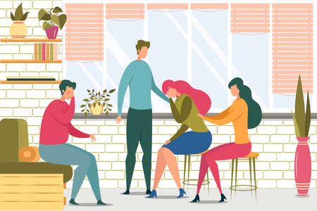 Friends Support Woman in Trouble Flat Illustration 일러스트