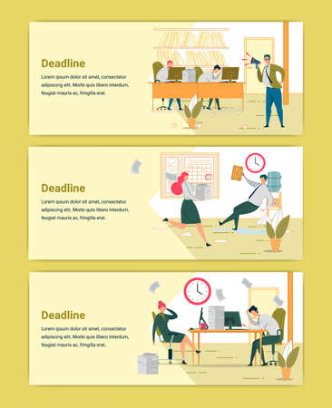 Deadline Approaching Web Banners Templates Set Illustration