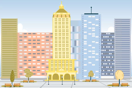 Scenic View on City Downtown Metropolis Landscape  イラスト・ベクター素材