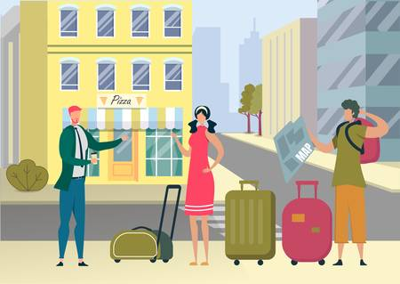 Tourists with Luggage Got Lost in Foreign City