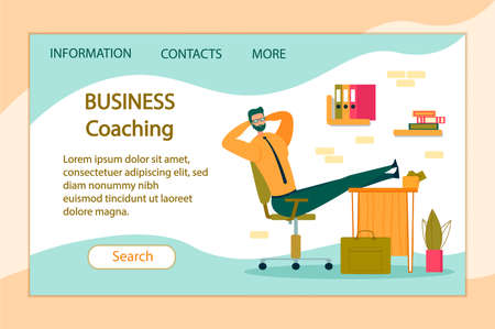 Business Coaching Horizontal Banner. Lazy Office Worker with Hands behind of Head Sit in Office with Legs on Desk. Useless and Relaxing Man Taking Break from Work Cartoon Flat Vector Illustration.  イラスト・ベクター素材