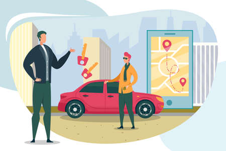 Gentlemen Changing Key to Rented Vehicle. Saving Money and Environment with Car Sharing. Map with Starting Point, Destination Station and Route in Pad. Big City with Skyscraper in Background.