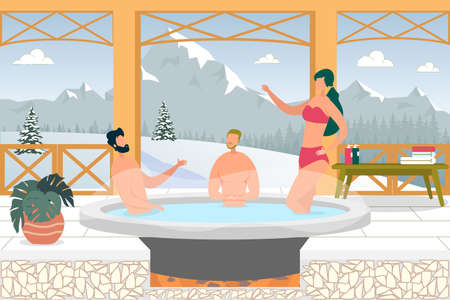 People Having Winter Vacation in Mountain. Man and Woman Sitting in Hot Water in Vat. Heated Water Therapy, Relaxation and Rest on Nature. Character Enjoying Outdoor Thermal Vector Illustration. Illustration