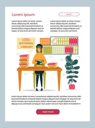 Girl Sitting at Table in National Library and Reading Book. Distance Studying and Self Education Website Design. Getting Knowledge, Student Studying at College or University Vector Illustration.