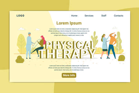 Rehabilitation Center, Physiotherapy. Doctor Helping Patient after Trauma with Hand and Leg. Supervision, Treatment, Health Problem, Stretching Landing Page Flat Cartoon Vector Illustration. Vektoros illusztráció
