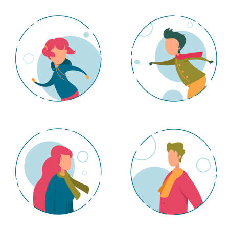 Funny Faceless Family Character Winter Isolated Round Portrait Set. Playful Boy and Girl in Move, Happy Mother and Father Wearing Warm Clothes in Circle Frame. Fun Season Rest. Vector Illustration Çizim