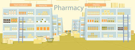 Warehouse Pharmacy Stock Store with Pill, Potion. High Shelf with Lot Pharmaceutical Product. Next to Rack there Ladder for Easy Work and Open Box with Medicament. Warehouse Space with Nameplate. 向量圖像