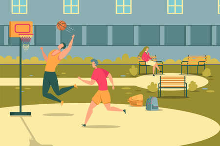 Teenagers Playing Outdoor Basketball, Girl Sitting on Bench Flat Cartoon Vector Illustration. Active Students Having Healthy Lifestyle. Teens Doing Sport or Training. Summer Activity.