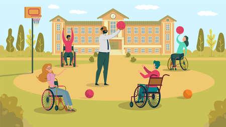 Jouer au basket-ball avec un élève en fauteuil roulant dans la cour d'école, sur le terrain de sport devant le bâtiment de l'école, leur apprendre à passer. Enseignant passant la pause avec quatre garçons et filles ayant des besoins spéciaux.