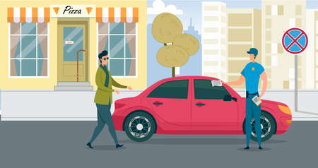 Policeman Write Penalty for Improper Parking. Man in Uniform Attache Notice Payment Fine to Car is Under Sign Prohibiting Parking. Driver Left Building and Walk Over to Police Officer to Talk.