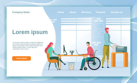 Company Employing People with Disability. Busy Office. Woman Working with PC, Sitting Opposite Colleague in Wheelchair. Man with Artificial Leg Making Copy. Landing Page with Copy Space.