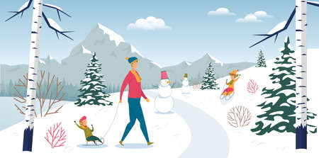 Father with Children Rest in Forest on Winter Vacation. Kid Sledding Downhill. Dad Carrying Son on Sleigh. Snowman, Snow-Covered Mountain Landscape. Fun Active Healthy Weekend. Vector Illustration