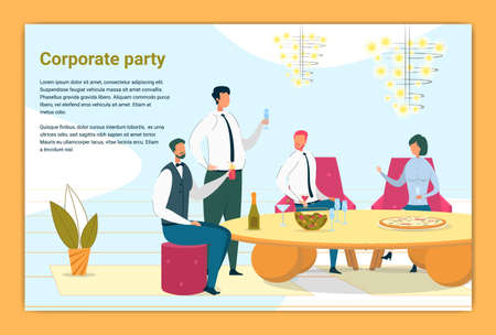 Corporate Party Flat Color Banner Vector Template. Company Coworkers, Friendly Colleagues Drinking Cartoon Characters. Business People spend time Together Illustration with Text Space Ilustração