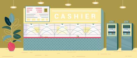 Cashier Desk for Exchanging Won Chip for Money. There Separate Cashier in Casino, Place Fenced with Wall, there Window for Cash Withdrawal. Automatic Machine can Make Exchange, Table with Big Win.  イラスト・ベクター素材