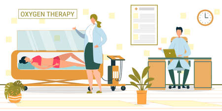 Doctor Office with Patient Having Oxygen Therapy, Nurse Closing Chamber Door. Breathing with Gas. Woman in Hyperbaric Chamber Curing Problem with Lung Flat Cartoon Vector Illustration.