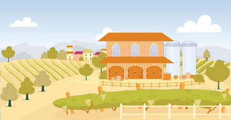 Grape Farm with Large Vineyard and Storage. Beautiful Brick Building for Making Wine and Storing Grape. Next to it Large Flask, and Solid Wooden Barrel for Wine, Tree Grow, Separate Bed Fruit.