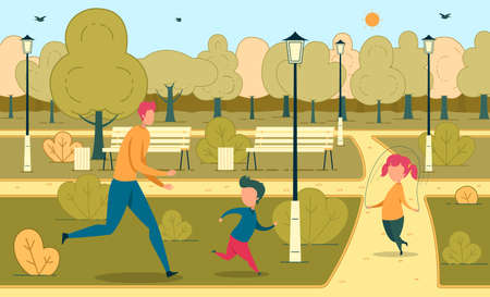Daddy Rest with Children in Urban Green Park. Dad Running After Son, Daughter Jumping on Rope. Active Recreation. Fatherhood. Happy Father Day. Summer Fun and Walking. Vector Illustration