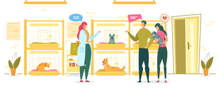 Shelter for Dogs and Girl Worker in Gown Flat Cartoon Vector Illustration. Woman Talking to Visitors Couple Coming to Kennel. Guy Asking Girl. Girlfriend Choosing Puppy. Pets in Cages.