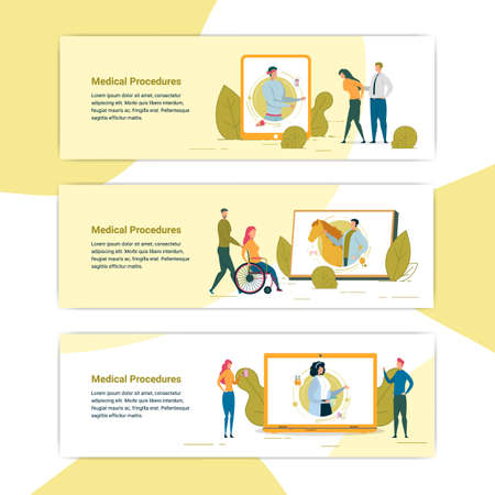 Medical Procedure, Man with Back Problem Making Electronic Appointment with Doctor, Acupuncture. Disabled Woman on Wheelchair Going to Visit Horse. Woman Drinking Cocktail Banner Vector Illustration.