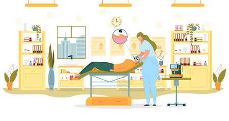 Skin Microdermabrasion Flat Cartoon Vector Illustration. Cleansing Dead Cells from Face. Woman Lying on Couch in Special Glasses and Cap in a reclining position. Beautician with Equipment.