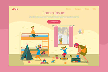 Naughty Children Education, Development and Household Landing Page Responsive Design. Mom Pick up Toys, Clean up Bedroom, Reassure Misbehavior Children. Mother of Many Kid. Vector Illustration